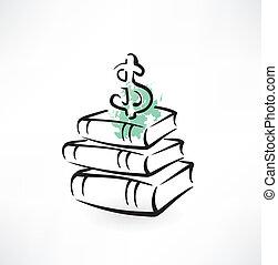 geld, boekjes , grunge, pictogram