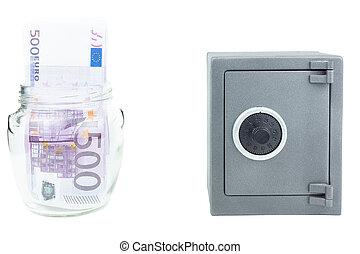 geld, brandkast, bank