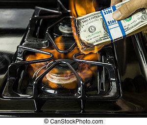 geld, burning