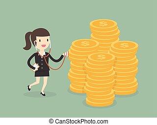 geld, businesswoman, stethoscope, gebruik, gezondheid controle