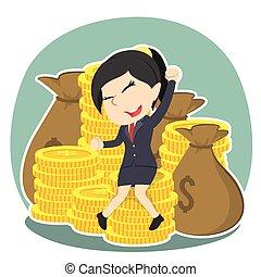 geld, businesswoman, vrolijke , stapel, zittende