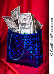 geld, cadeau, rode achtergrond