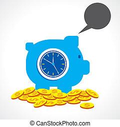 geld, concept, besparing, tijd, vervaardiging