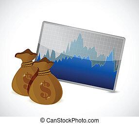 geld, concept, forex, illustratie, verwisselen