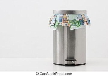 geld, concept, -, werpen, geld