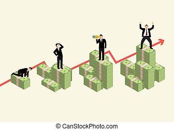geld, contant, gevarieerd, activiteit, zakenman, toenemend