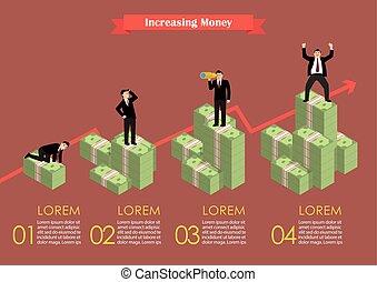 geld, contant, infographic, gevarieerd, activiteit, zakenman, toenemend