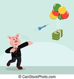 geld, dartpfeile, fliegendes, geschaeftswelt, schwein