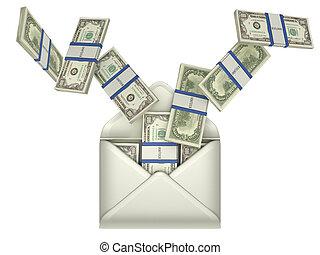 geld, dollar, -, briefkuvert, einkommen, übertragung