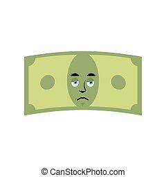geld, dollar, freigestellt, traurige , emotion., sorry., bargeld, emoji