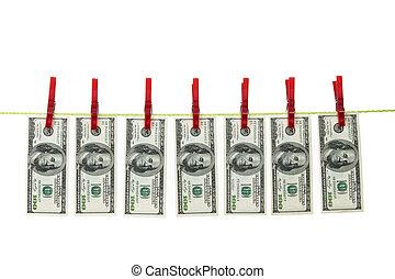 geld, dollar, linie, waschen, kleidung
