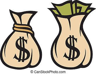 geld, dollar, tasche, zeichen
