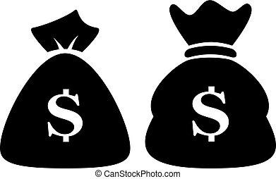 geld, dollar, zak, pictogram