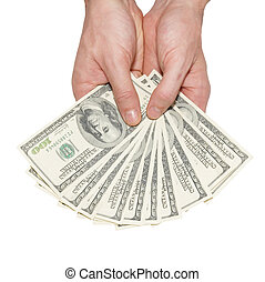 geld, dollars, handen, vrijstaand, white.