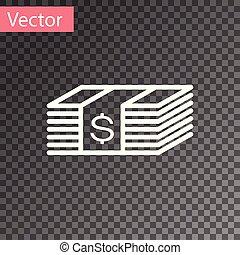 geld, dollars, rekening, dollar, contant, illustratie, vrijstaand, bankpapier, achtergrond., amerikaan, vector, papier, witte , currency., icon., stapel, transparant, pictogram