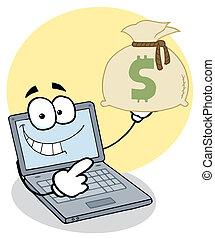 geld, draagbare computer, kerel, vasthouden, zak