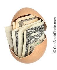 geld, eierdop, bruine