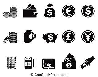 geld, en, munt, iconen, set