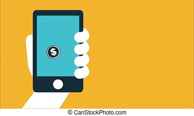 geld, en, zakelijk, ontwerp, video, animatie