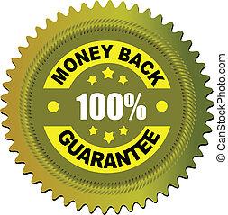 geld, etiket, vector, guarantee., back