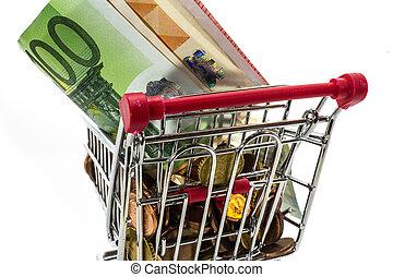 geld, europäische , geldmünzen, und, banknoten, in, der, einkaufswagen