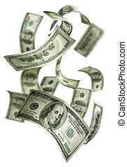 geld, fallender , rechnungen, $100