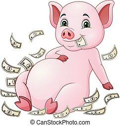 geld, fliegendes, karikatur, schwein