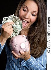 geld, frau, einsparung