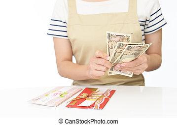 geld, frau, hände, halten
