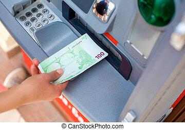 geld, geldautomat, bargeld, heraus