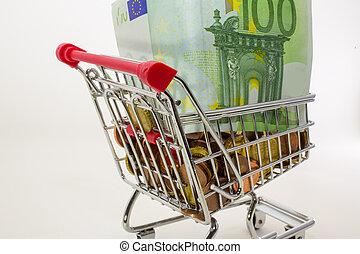 geld, geldmünzen, und, banknoten, in, der, einkaufswagen