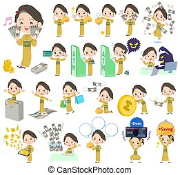 geld, gele, vrouw, kimono, ocher