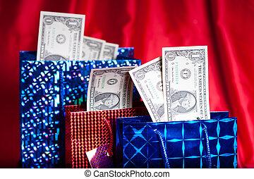 geld, geschenk, auf, roter hintergrund