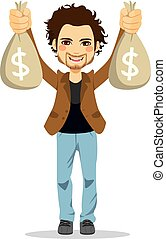 geld, glücklich, mann