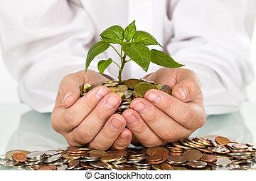 geld, goed, concept, investeringen, vervaardiging