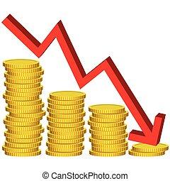 geld, grafisch, vector, illustratie, verliezen