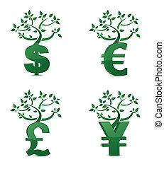 geld, groei, boompje, of, investering