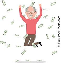 geld, grootvader, sprong, vector, het vallen, spotprent
