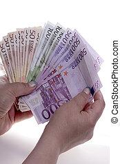 geld, hände, halten, euro