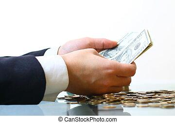 geld, hände halten