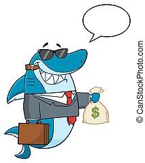 geld, haai, vasthouden, zakelijk, zak