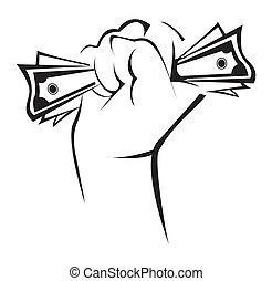 geld, halten hand
