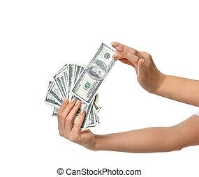 geld, halten, hundert dollar, hände