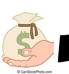 geld, hand houdend, zak