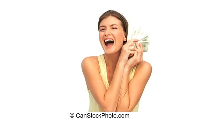 geld, het tonen, vrouw, haar