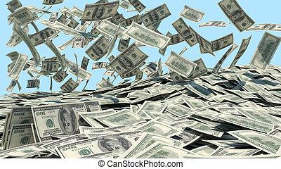 geld, himmel fällt, in, a, haufen
