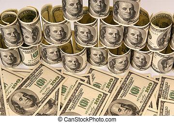 geld, honderd dollars, rekeningen, stapel