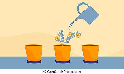 geld, houseplant, vector, illustratie, groei, succesvolle , investering, muntjes, concept