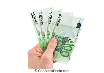geld, in, a, hand