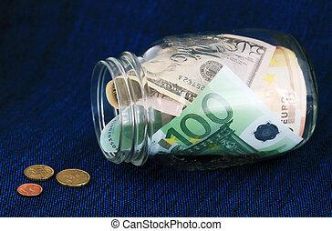 geld, in, a, krug